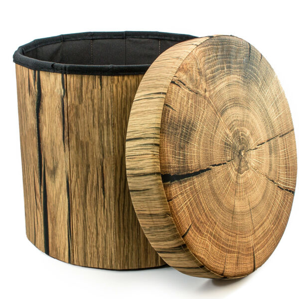 Sorbus Storage Ottoman – Foldable Collapsible with Lid Cover – (Tree Stump) $22.99