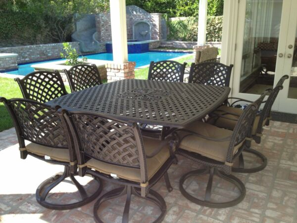 Heritage Outdoor Living 9 Piece for 8 Square Dining Set with Table