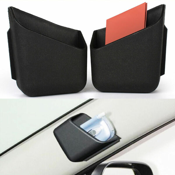 2x Black Car Truck Cigarette Glasses Storage Box Organizer Bag Cellphone Holder