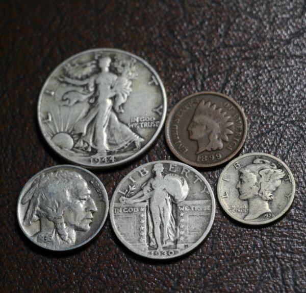 Old U.S. Silver Coins 5 Coin Collection Set 90% Silver Type Coins For Sale