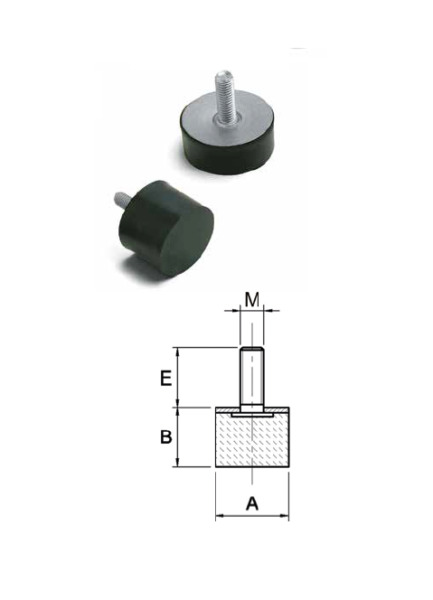 Anti-vibration damper mounting (dia 6mm-40mm) male-rubber (dimensionpack)