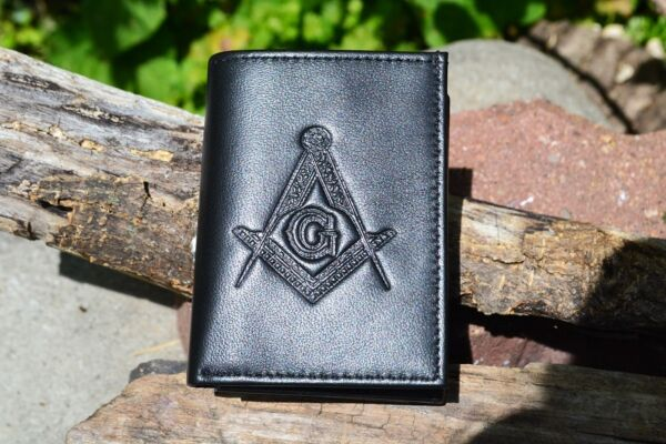 Masonic Black Leather Tri Fold Wallet RFID Protected Square and Compasses $24.97