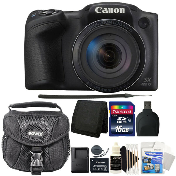 Canon PowerShot SX420 IS 20MP Digital Camera with 16GB Professional Accessories