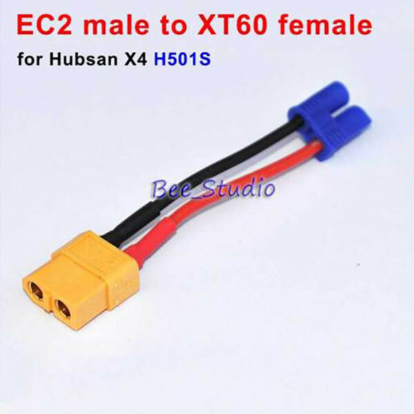 Battery Charging Cable EC2 Male to XT60 Female For Hubsan X4 H501S/C Drone Parts