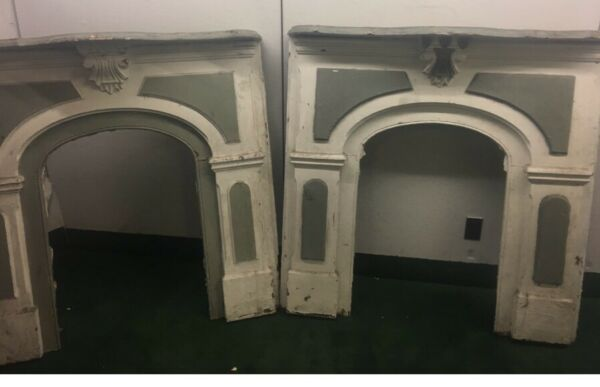 Pr Of Victorian Old Paint Matching Fireplace Mantles. Shipping Zip Required