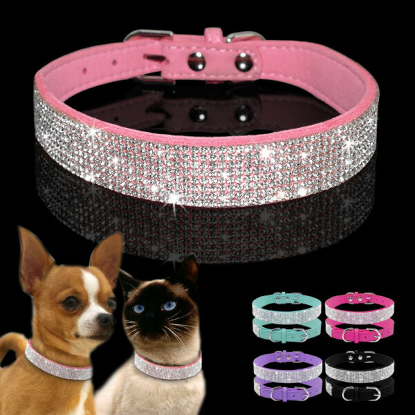 Bling Rhinestone Suede Leather Dog Collars Adjustable for Small Medium Dog Puppy $7.39