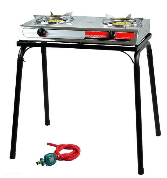 Portable Propane Gas Gasoline lpg 2-Burner Stove Stand Dual Burners Cook Stand