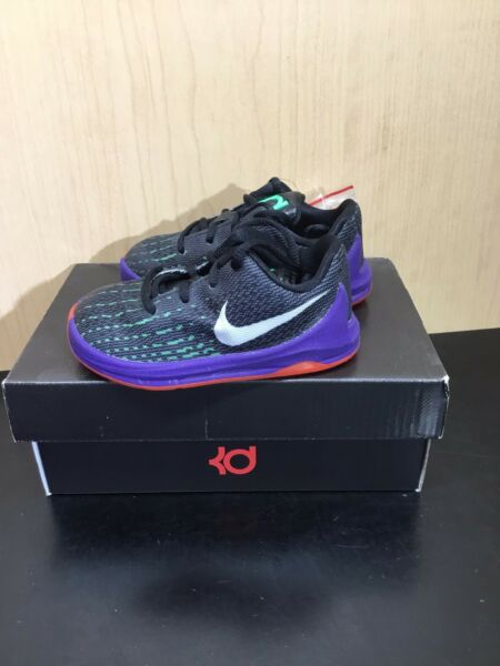 Nike KD 8 Preschool Boys Shoe Black/Green Shock/Hyper Orange/White 5C 768869-003