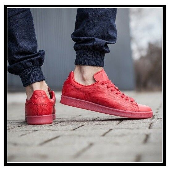 Adidas Stan Smith ADICOLOR TRIPLE RED Mens Shoes Pharrell Scarlet S80248 Leather