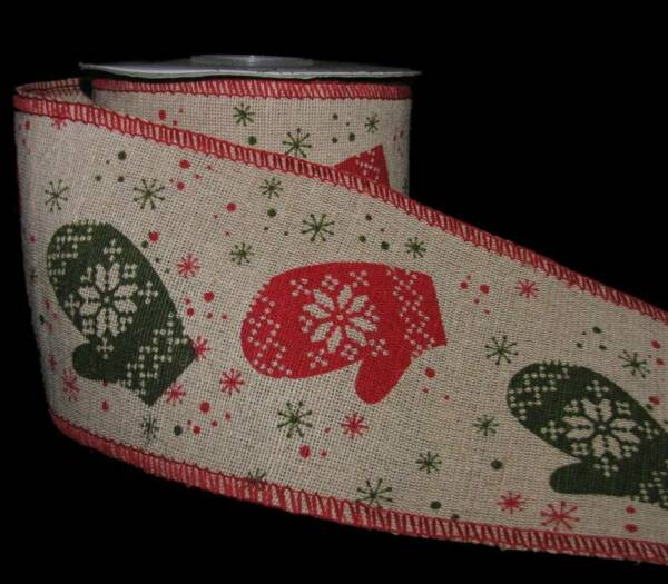 5 Yards Christmas Winter Red Green Mittens Jute Burlap Like Wired Ribbon 4quot;W