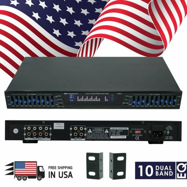 New EMB EQB75 19#x27;#x27; Rack Mount Dual 10 Band 4 Input Stereo Spectrum Equalizer $74.99