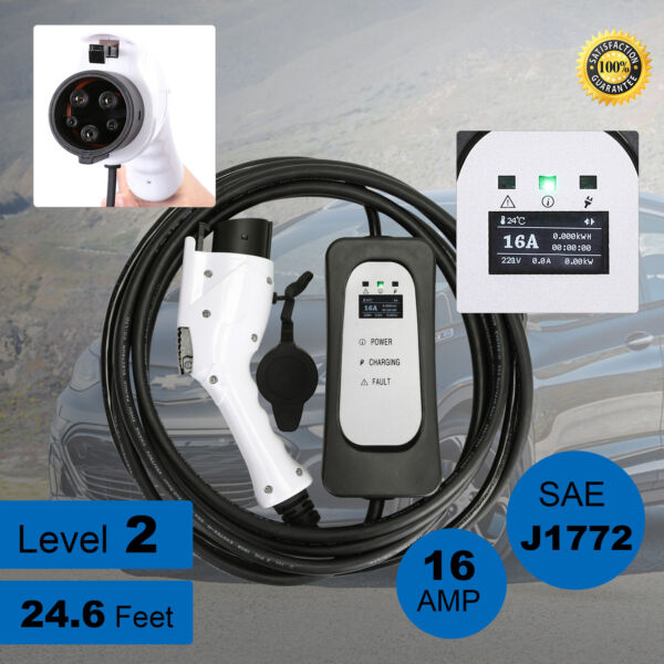 3x Faster EVSE Electric Vehicle Charger EV Level 2 220Volt16A for Leaf w/Cord