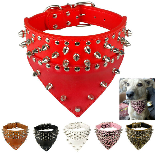 Bandana Style Spiked Dog Collars Leather Collar for Small Large Dogs Pitbull $22.99