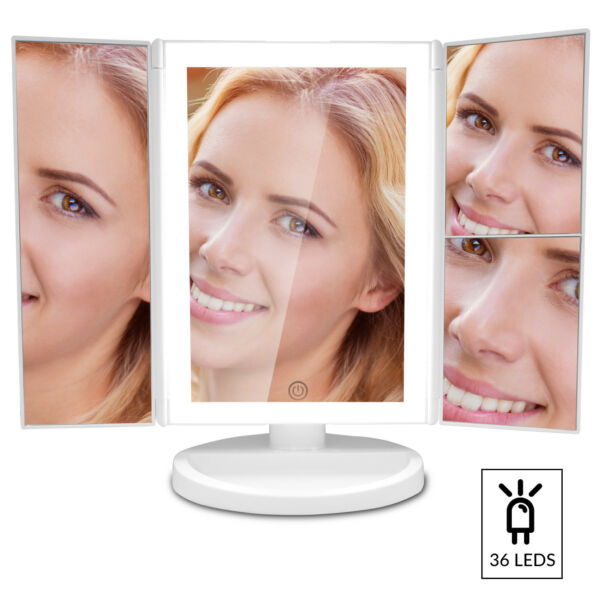 Vanity Makeup Mirror with Upgraded Anti-Glare & Natural LED Lighting & 3X 2X 1X