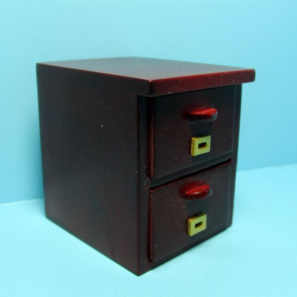 Dollhouse Miniature Mahogany Wood Two Drawer File Cabinet T3562A