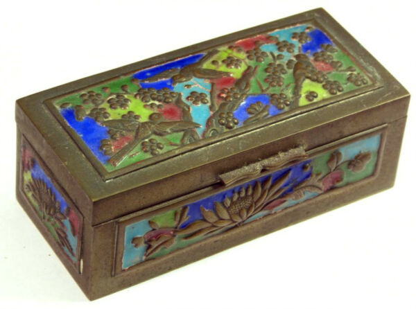 Antique Chinese Cloisonne Brass Stamp Box Decorated Birds Marked China 3.5 Wide
