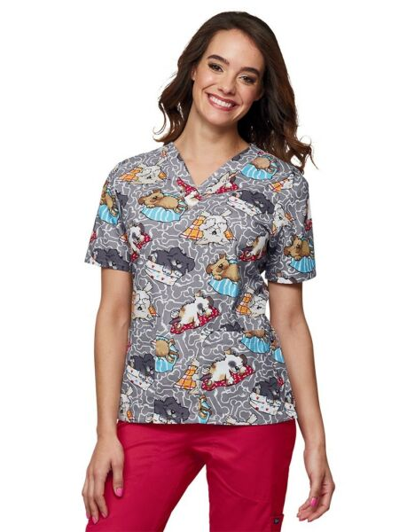 New Womens Large Scrub Top Dogs Ruff Days Gray Short Sleeve Two Pocket Tafford $17.00