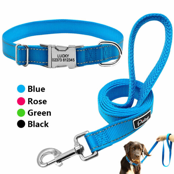 Reflective Dog Personalized Collar and Leash set Custom Dog ID Name Tag Engraved $12.99