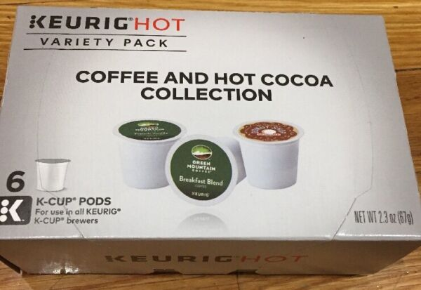 Keurig 6 K Cups Green Mountain Coffee Variety Pack  Hot Cocoa Organic Dark Magic