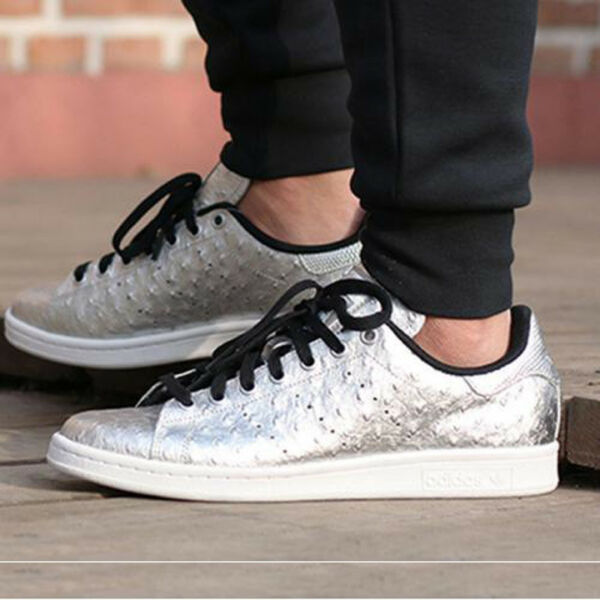 Adidas Originals Stan Smith Men's Shoes METALLIC SILVER AQ4706 Embossed Ostrich