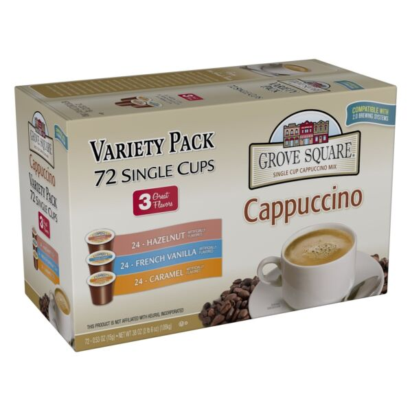 Grove Square Cappuccino Variety Pack 72 Single Serve Cups 72-Count K-Cups Coffee