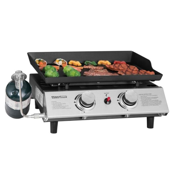 Royal Gourmet BBQ Propane Gas Grill Griddle 2-Burner Tabletop Barbecue Camping