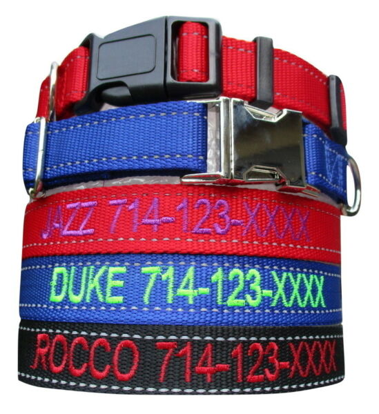 REFLECTIVE Customized Personalized Embroidered Dog Adjustable Nylon Dog Collars $10.99