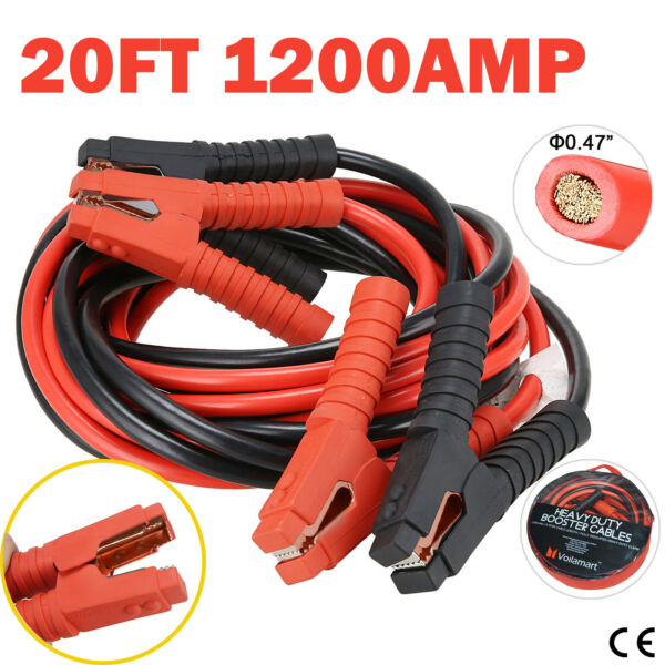 1 Gauge 1200AMP Booster Cables 20FT Power Start Jumper Heavy Duty Car Van