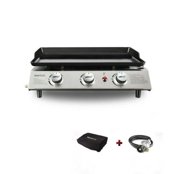 Royal Gourmet Portable 3 Burner Propane Gas Grill Griddle Camping
