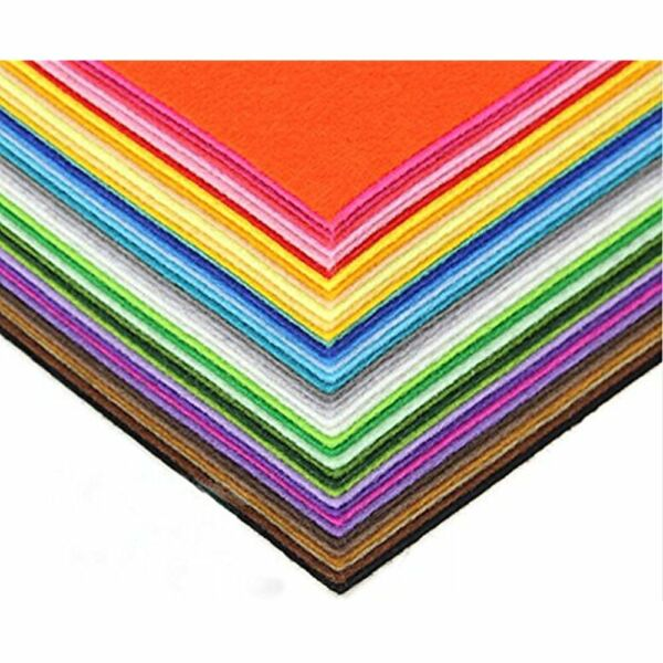 DIY PreCut Quilt Squares Polyester Stiff Felt Fabric Sheets Assorted Colors Inch