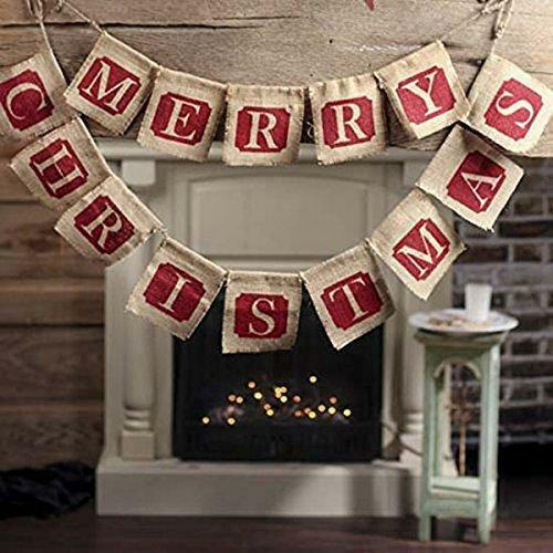 Merry Christmas Banner Burlap Rustic Decor Holiday Party Decorations NEW