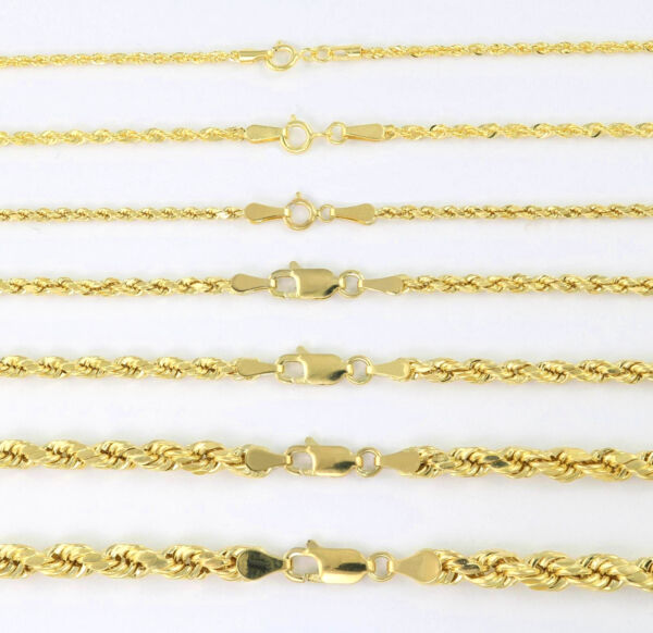 Real 14K Yellow Gold 1mm 5mm Rope Chain Link Necklace Bracelet Mens Women 7quot; 32quot; $88.99