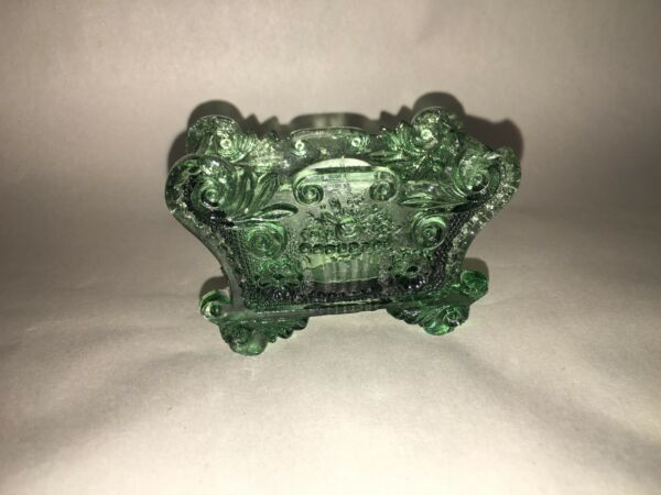 Antique Lacy Sandwich Pressed Glass Salt BF -1 Basket Flowers Green Ca. 1850