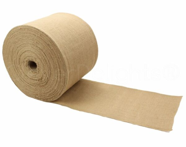 6quot; Premium Burlap Roll 100 Yards Finished Edges Natural Jute Fabric Bulk
