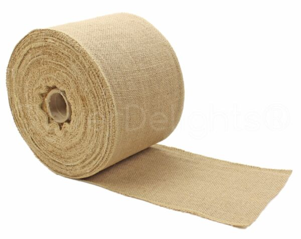6quot; Premium Burlap Roll 50 Yards Finished Edges Natural Jute Burlap Fabric