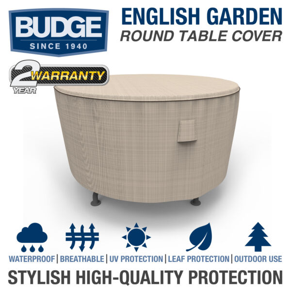 Budge English Garden Waterproof Round Patio Table Cover Multiple Sizes $30.95