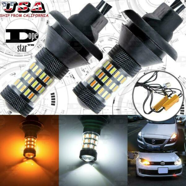 Error Free 1156 7506 Switchback 60-SMD LED Bulb Front Turn Signal Lights w DRL