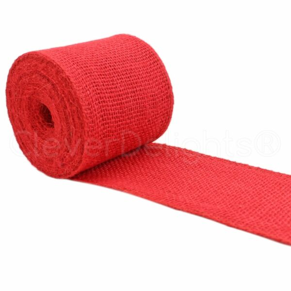 4quot; Red Burlap Ribbon 10 Yards Wired Edge Premium Jute Craft Decor Bows