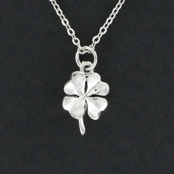 Shamrock Necklace - Pewter Charm on Chain Four Leaf Clover Good Luck Irish NEW