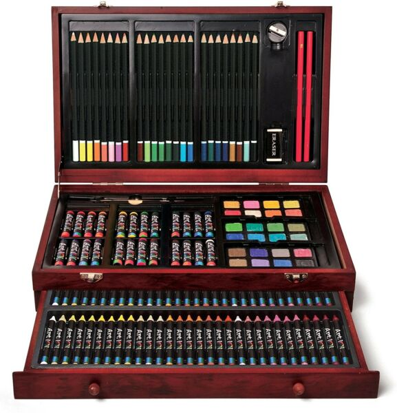 142-Pc Colored Pencil Markers Crayon Big Art 101 Kit Wood Case Drawing Gift Set