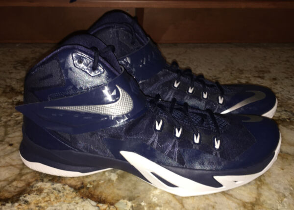 NIKE LeBron Zoom Soldier VIII Basketball Shoes Sneakers Navy Blue NEW Mens 16.5