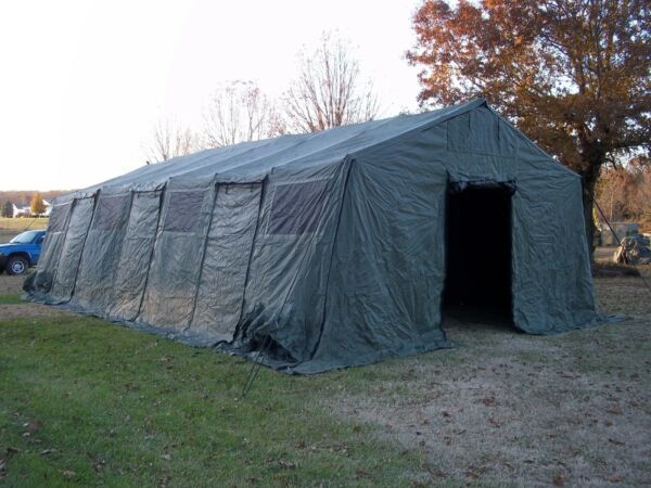 MILITARY TENT BASE X 307 GREEN EASY UP 18#x27; x 35#x27; GARAGE HUNTING SURPLUS ARMY