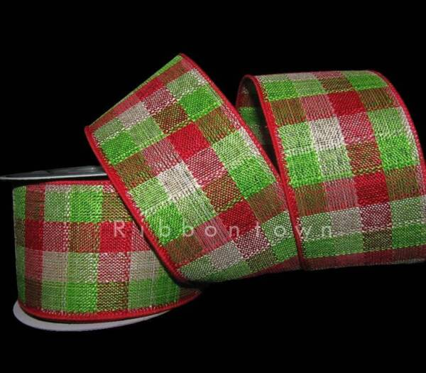10 Yards Christmas Bright Red Green Country Plaid Burlap Like Wired Ribbon 2 1 2