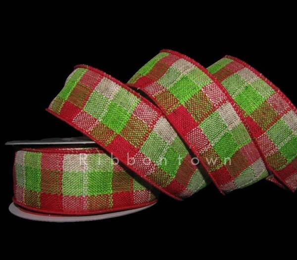 10 Yards Christmas Bright Red Green Country Plaid Burlap Like Wired Ribbon 1 1 2
