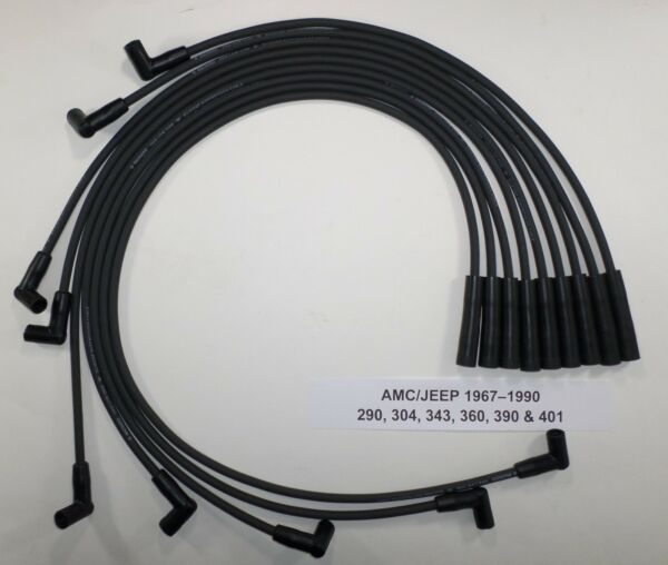AMC/JEEP 1967-1990 290,304,343,360,390 & 401 BLACK HEI 8mm SPARK PLUG WIRES USA