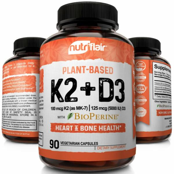 ▶ Vitamin K2 (MK7) with D3 5000 IU Supplement with BioPerine, 90 Veggie Capsules