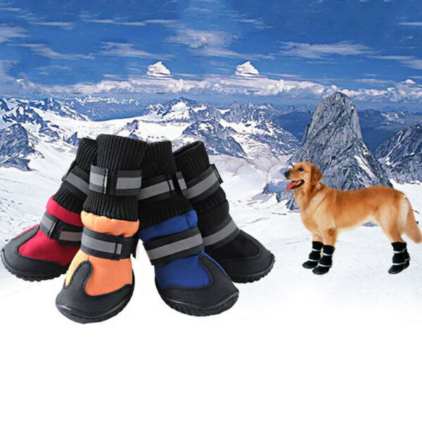 USA 4pcs Waterproof Pet Dog Winter Warm Rain Booties Puppy Anti-Slip Boots Shoes