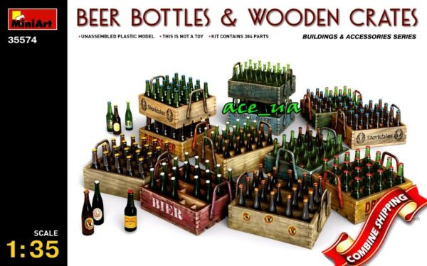 Beer bottles & Wooden Crates Sets for Dioramas Plastic Kit 135 Miniart 35574