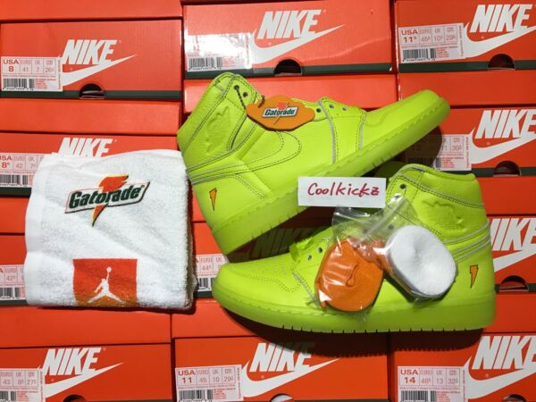 Nike Air Jordan 1 Retro High Gatorade 8-14 Cyber Yellow Lemon Lime AJ5997-345