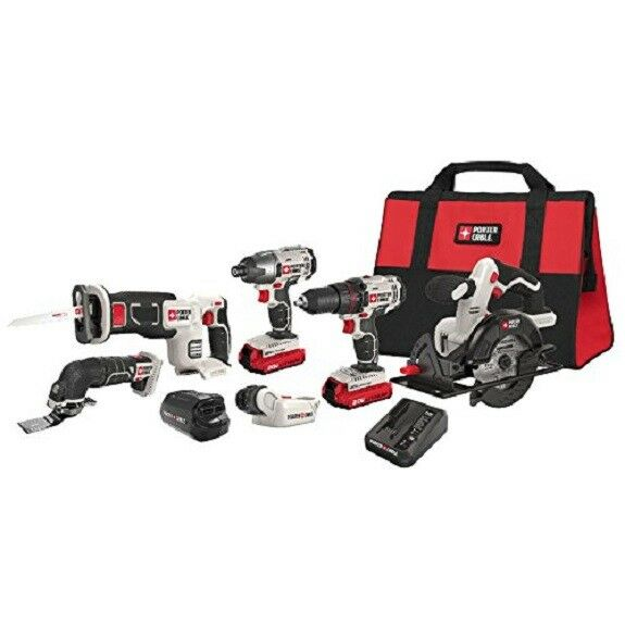 Porter Cable 20V Max LI-ION 6 Pc Cordless Power Tool Combo Set With Soft Case